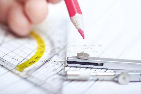 Mühendislik insan eli çizim kırmızı kalem Stok fotoğraf © Novic