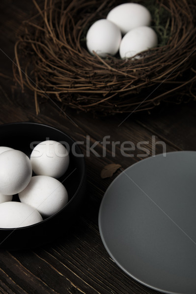 Easter eggs and bird nest Stock photo © Novic