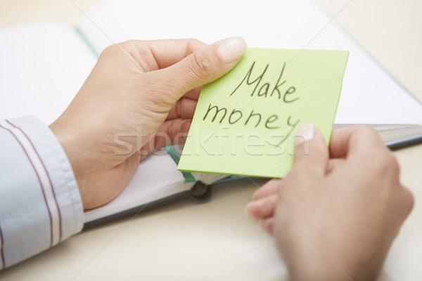 Argent mains homme d'affaires adhésif Photo stock © Novic