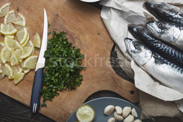 Fish food preparation Stock photo © Novic