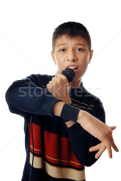 Jonge zingen lied muziek Stockfoto © Novic