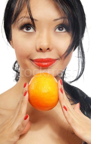 Woman and orange Stock photo © Novic