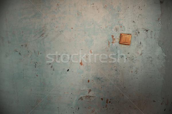Oude schakelaar beschadigd muur horizontaal foto Stockfoto © Novic