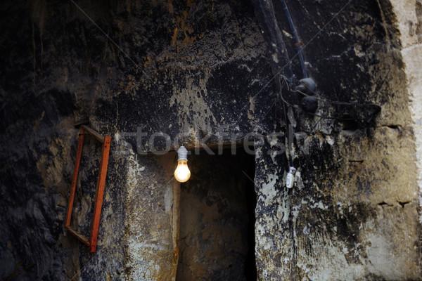 Stock fotó: Lámpa · elhagyatott · ház · vízszintes · fotó · ajtó