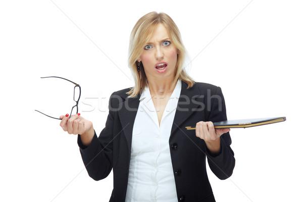 Mérges női főnök üzletasszony tart szemüveg Stock fotó © Novic