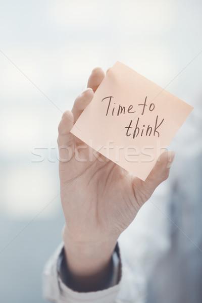 Czasu zdaniem kobieta karteczkę tekst Zdjęcia stock © Novic