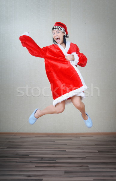 Louco saltando papai noel senhora Foto stock © Novic