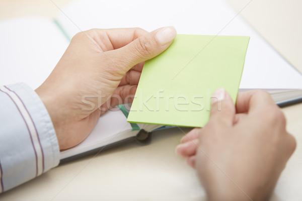 Blank green adhesive note Stock photo © Novic