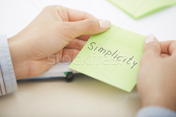 Simplicity text on adhesive note Stock photo © Novic