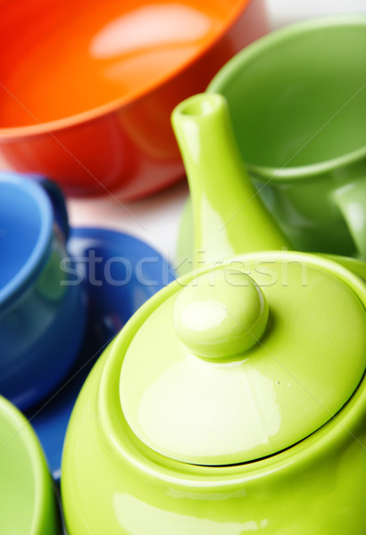 Teapot and teacups Stock photo © Novic