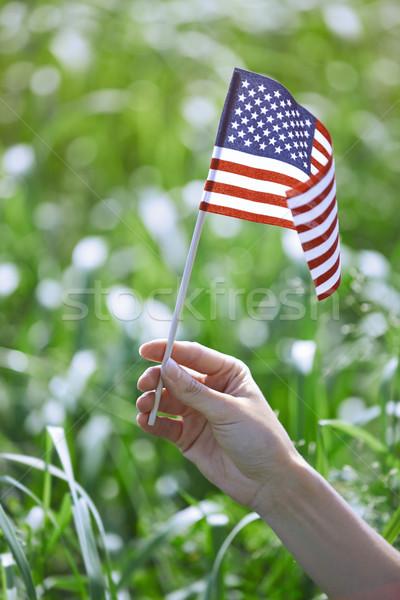 Stok fotoğraf: Kadın · bayrak · el · bahar · alan
