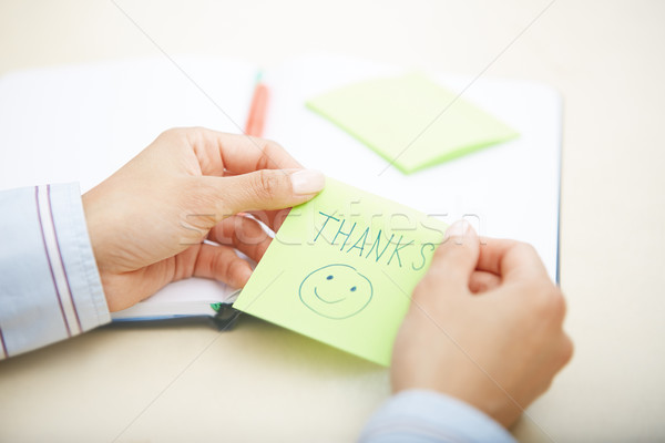 Thanks on adhesive note Stock photo © Novic