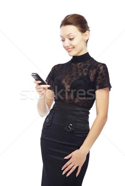 хорошие sms улыбаясь Lady сотового телефона Сток-фото © Novic