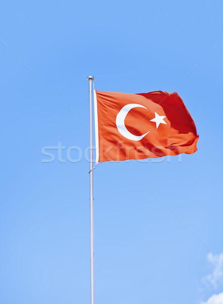 Turco bandeira céu azul branco Foto stock © Novic