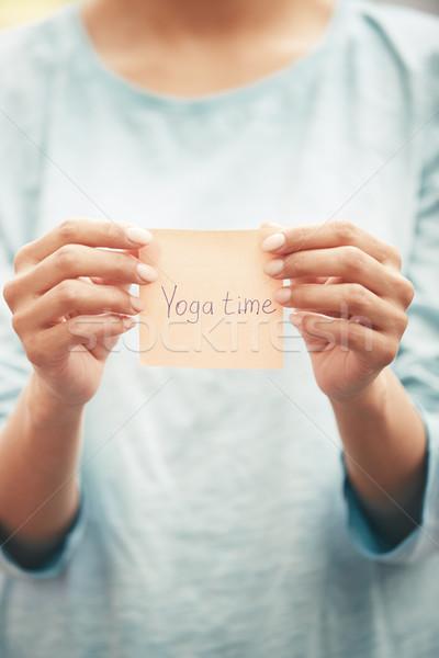 Yoga time text on a sticky paper Stock photo © Novic
