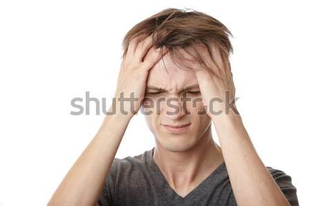 Estresse emocional dor de cabeça moço sentimento triste estresse Foto stock © Novic