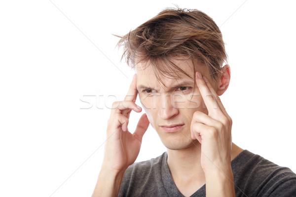 Fejfájás férfi szenvedés fehér szomorú stressz Stock fotó © Novic