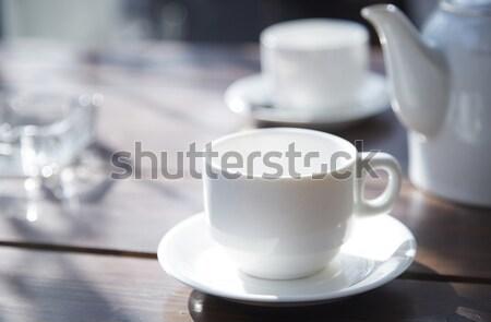 çay fincanı tablo açık havada kafe mutfak içmek Stok fotoğraf © Novic