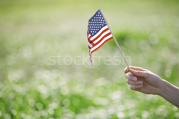 Foto stock: Mulher · bandeira · mão · primavera · grama