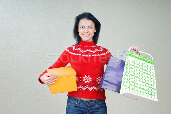 Stock photo: Woman with gift packages