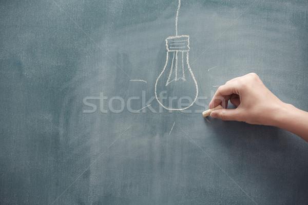 Elektrische lamp menselijke hand tekening Blackboard hand Stockfoto © Novic