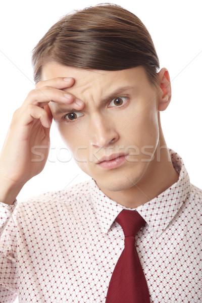 Dor de cabeça negócio empresário sofrimento estresse emocional homem Foto stock © Novic