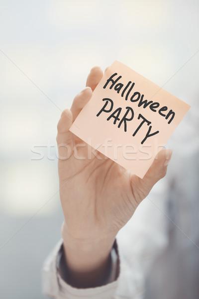 Zdjęcia stock: Kobieta · przyczepny · Uwaga · halloween · strony
