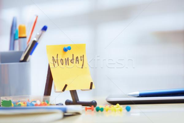 Tekst zelfklevend nota kantoor business papier Stockfoto © Novic