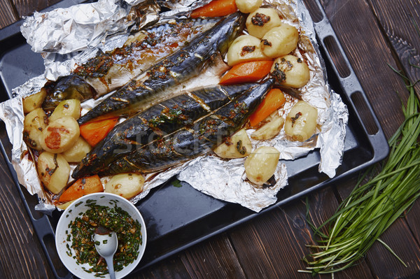 Baked fish and vegetable Stock photo © Novic