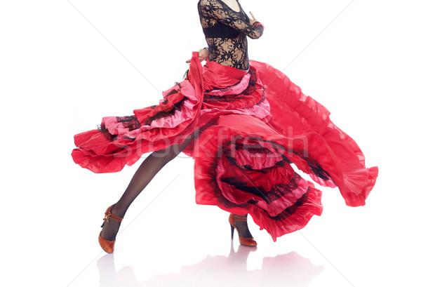 Flamenco irreconhecível senhora traje dança branco Foto stock © Novic