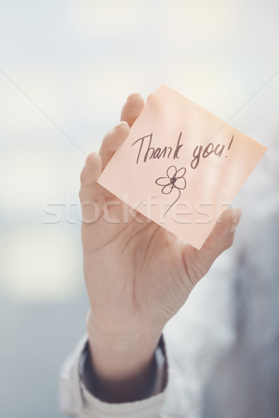 Thank you text on adhesive note Stock photo © Novic
