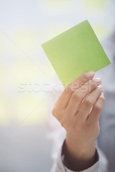 Przyczepny Uwaga przestrzeni kobieta karteczkę Zdjęcia stock © Novic