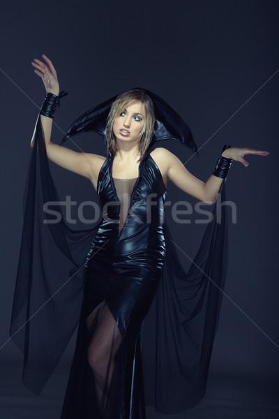 Сток-фото: ведьмой · довольно · Lady · костюм · темно · женщину
