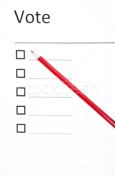Votação boletim vermelho lápis escolha Foto stock © Novic