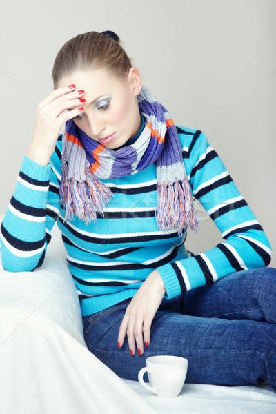 Tristeza doença doente mulher sessão Foto stock © Novic