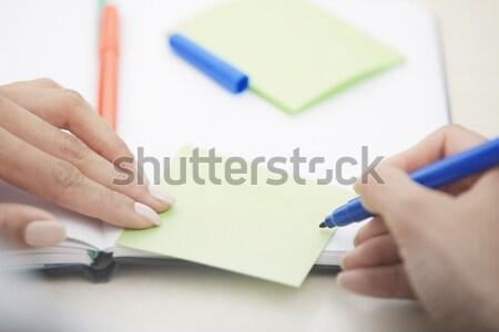 öntapadó jegyzet üres hely kezek nő ír tapadó Stock fotó © Novic