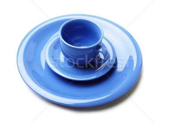 Mavi plakalar çay fincanı beyaz çay hizmet Stok fotoğraf © Novic