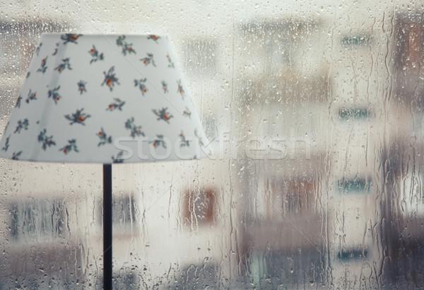 Yağmur tablo lamba ıslak pencere yağış miktarı Stok fotoğraf © Novic