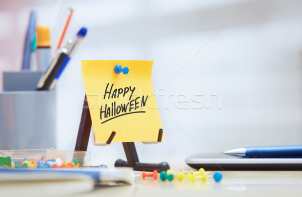 Adhesive note with Happy Halloween text Stock photo © Novic