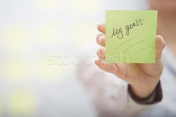 Objectifs planification femme note collante Photo stock © Novic