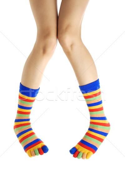 Twee dun menselijke benen kleur Stockfoto © Novic