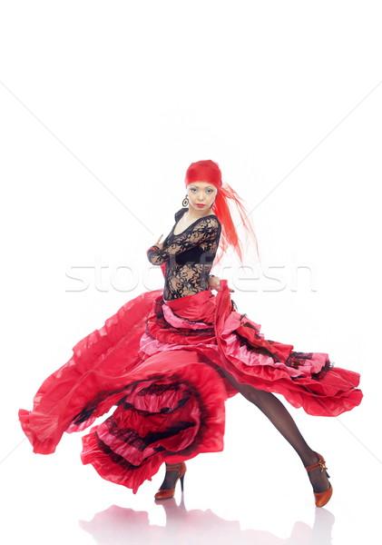 Flamenco senhora traje dança branco mulher Foto stock © Novic