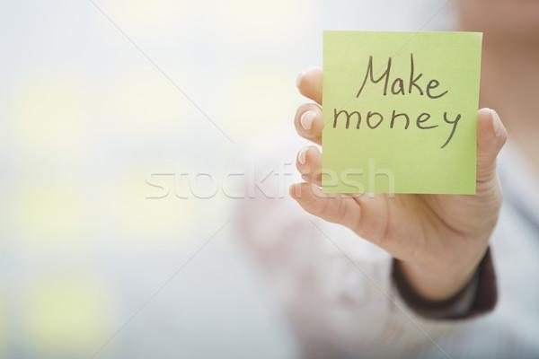 Zdjęcia stock: Ceny · kobieta · karteczkę · tekst
