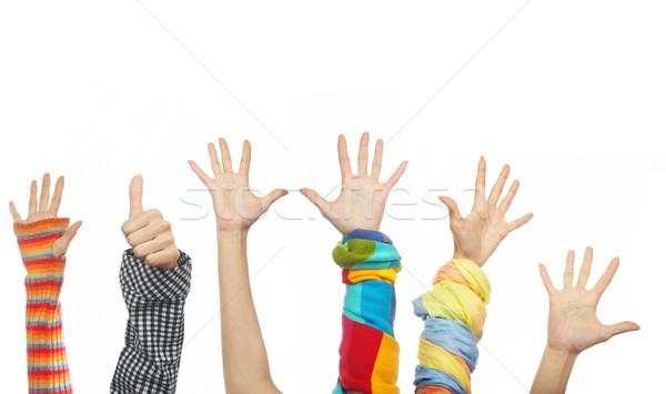 Gelukkig handen zes menselijke kleding Stockfoto © Novic