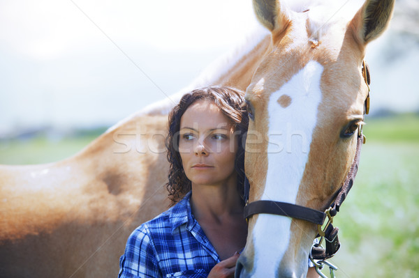 Woman and horse together Stock photo © Novic