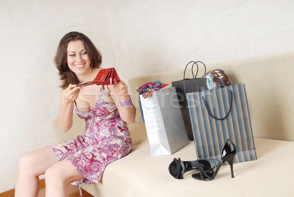 ショッピング 笑い 女性 空っぽ 財布 座って ストックフォト © Novic