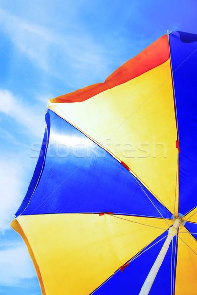Guarda-sol foto blue sky viajar nuvem Foto stock © Novic