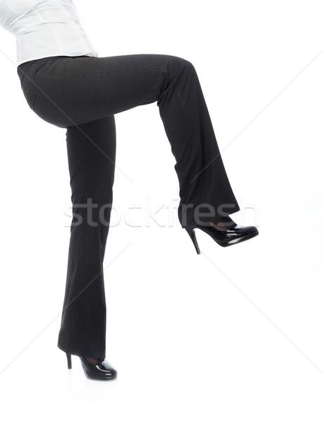 Primo piano foto imprenditrice gambe nero pantaloni Foto d'archivio © Novic
