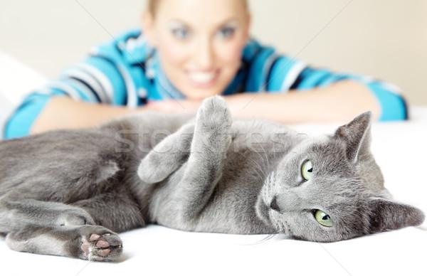 Cat and woman Stock photo © Novic