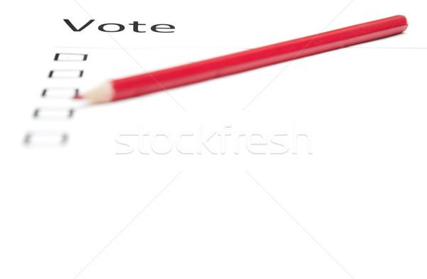 Szavazás közlöny piros ceruza gyártmány választás Stock fotó © Novic